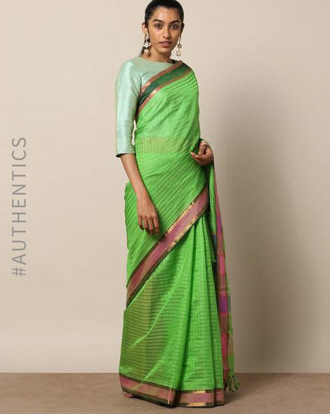 Handloom Mangalgiri Checked Cotton Silk Saree By Indie Picks ( Green )