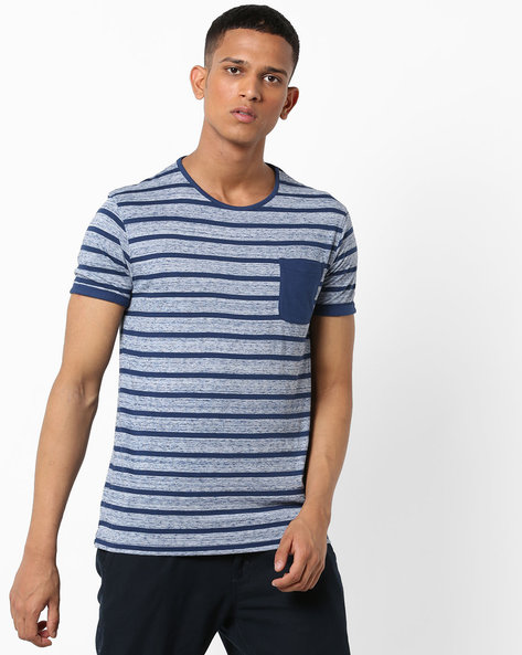 Striped Cotton T-shirt With Patch Pocket By VOI JEANS ( Blue )