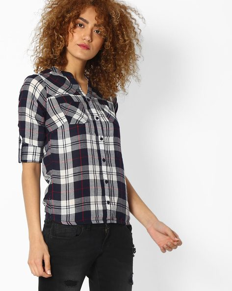 Checked Shirt With Patch Pockets By DNM X ( Navy )