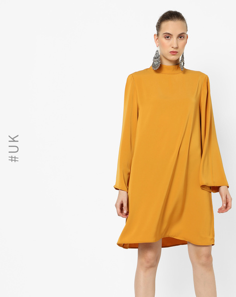 Shift Dress With Flared Sleeves By NEON ROSE ( Mustard )
