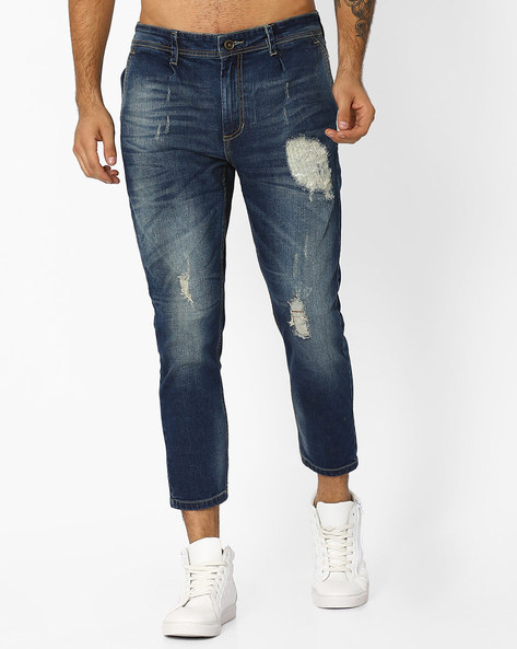 Mid-Wash Cropped Jeans By ADAMO LONDON ( Navyblue )