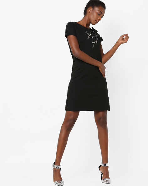 Shift Dress With Embroidery By AJIO ( Black )