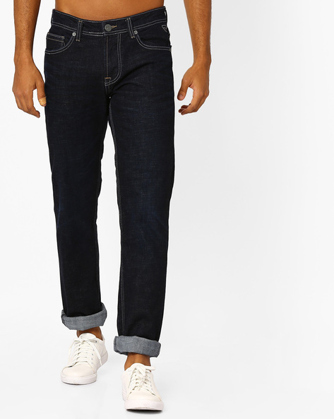 Slim Fit Jeans With Whiskers By Killer ( Blue )