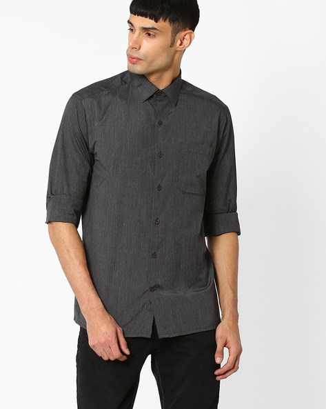 Regular Fit Shirt With Patch Pocket By JOHN PLAYERS ( Black )