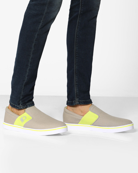 Canvas Slip-Ons With Elasticated Gussets By UNITED COLORS OF BENETTON ( Grey )
