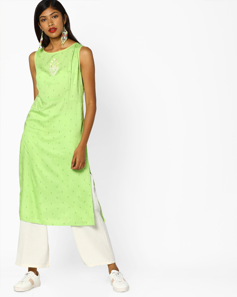 Printed Kurta With Embroidery By AJIO ( Green )