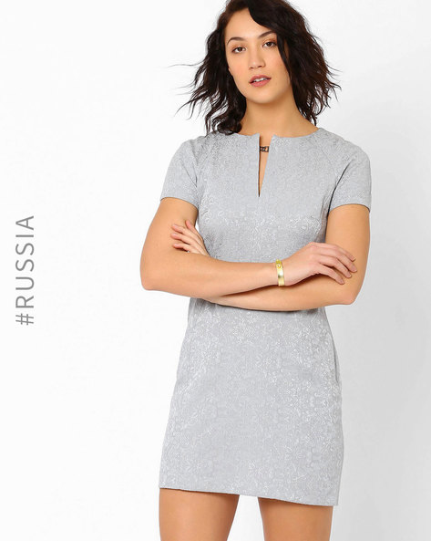 Tailored Dress With Floral Design By Kira Plastinina ( Grey )