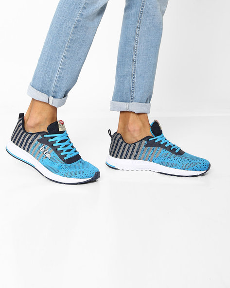 Lace-Up Sports Shoes With Striped Pattern By Lee Cooper ( Sblue )