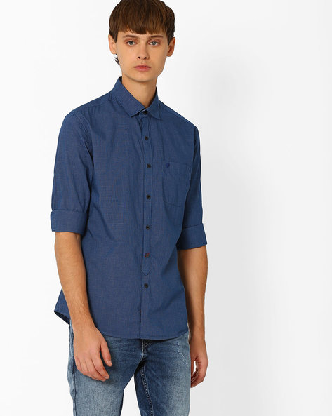 Checked Cotton Shirt By NETPLAY ( Navy )