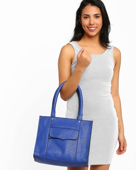 Tote Bag With Flap Pocket By AJIO ( Blue )