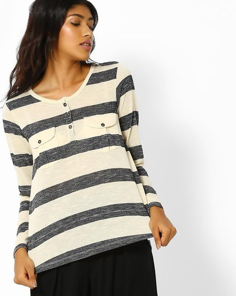 Striped High-Low Top With Flap Pockets By DNMX ( Greymelange )