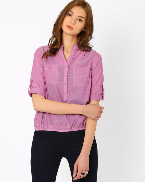 Shirt With Roll-Up Sleeve Tabs By FIG ( Pink )