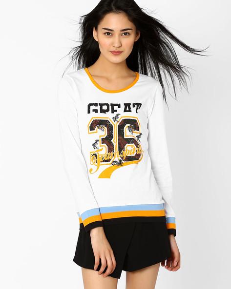 Graphic Print T-shirt By Teamspirit ( White )