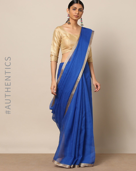Handloom Pure Silk Cotton Saree With Zari Border By Indie Picks ( Blue )