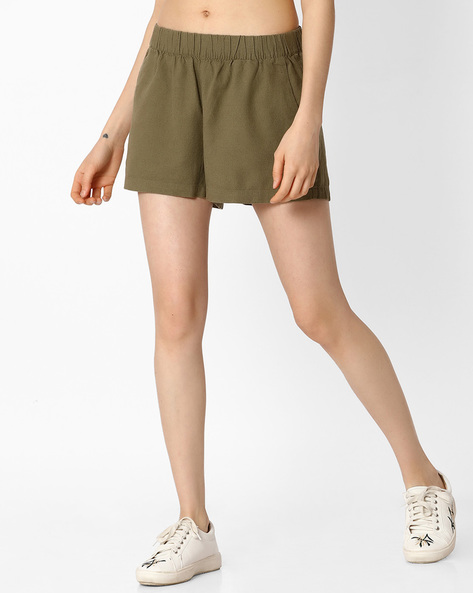 Mid-Rise Shorts With Elasticated Waist By Vero Moda ( Green )