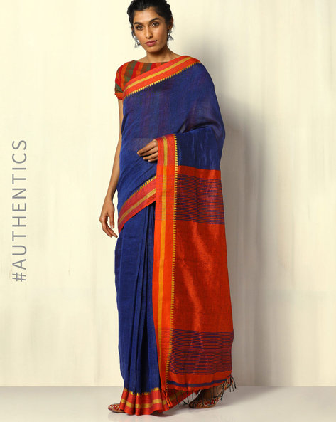 Handloom Pure Linen Saree With Fringes By Indie Picks ( Multi ) - 460103034001