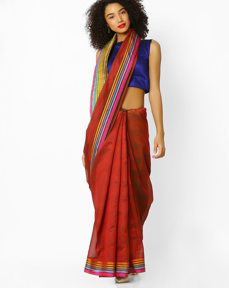 Mysore Silk Saree With Contrast Border By Florence ( Rust )