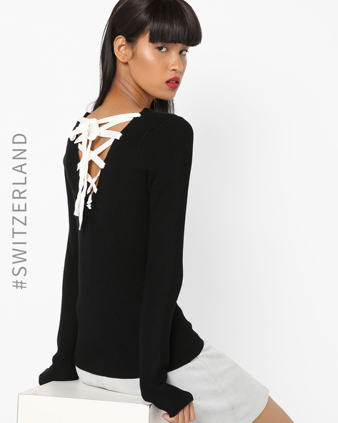 V-neck Ribbed Pullover With Lace-Up Fastening By TALLY WEiJL ( Black )