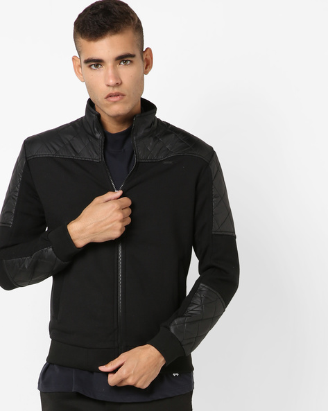 Bomber Jacket With Quilted Panels By FLYING MACHINE ( Black )