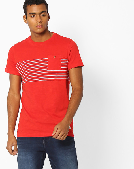 Crew-Neck T-shirt With Patch Pocket By INDIAN TERRAIN ( Red )
