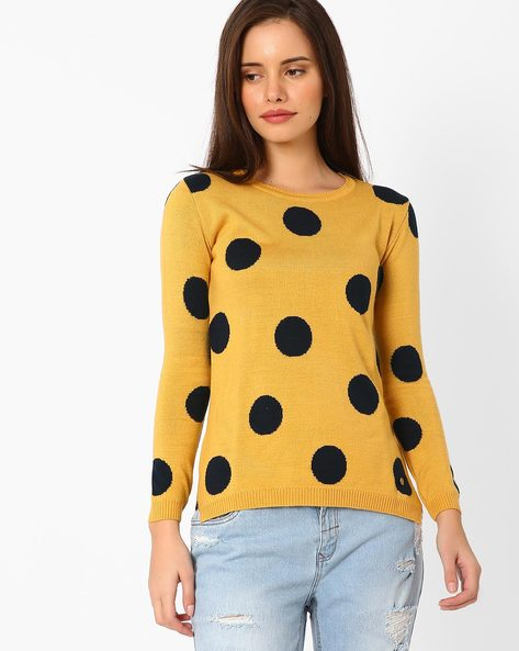 Polka-Dot Sweater With Ribbed Hems By TAANZ WOMENS ( Assorted )