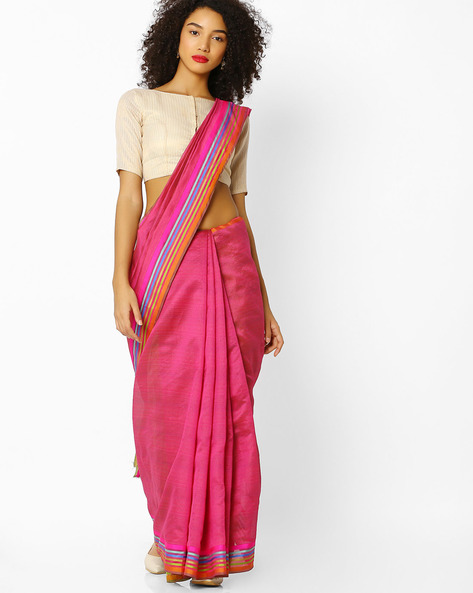 Mysore Silk Saree With Contrast Border By Florence ( Pink )