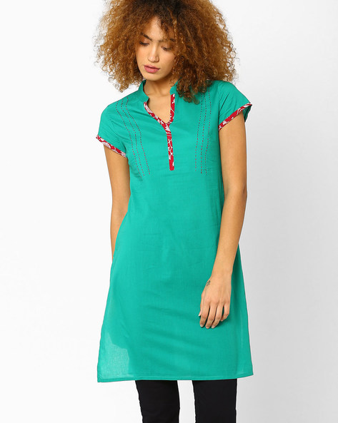 Tunic With Mandarin Collar By AJIO ( Green )