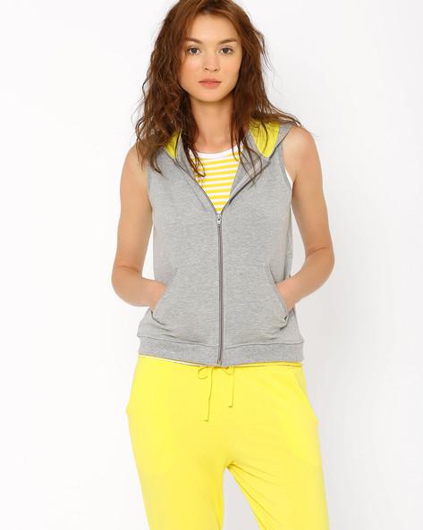 Sleeveless Hooded Sweatshirt By AJIO ( Greymelange )