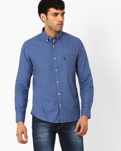Tailored Fit Shirt With Button-Down Collar By US POLO ( Blue )