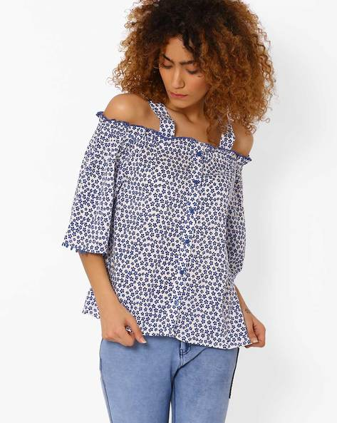 Floral Print Cold-Shoulder Top By DNM X ( Offwhite )