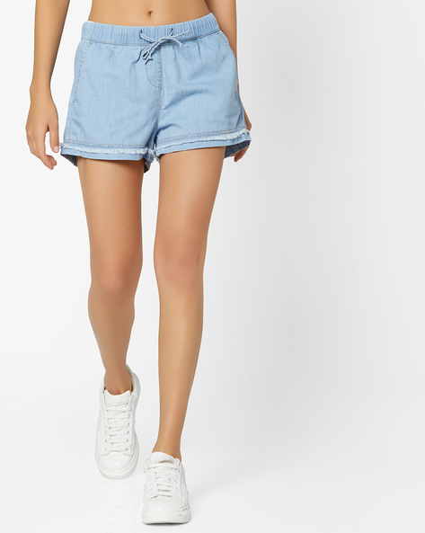 Denim Shorts With Elasticated Waist By AJIO ( Lightblue )