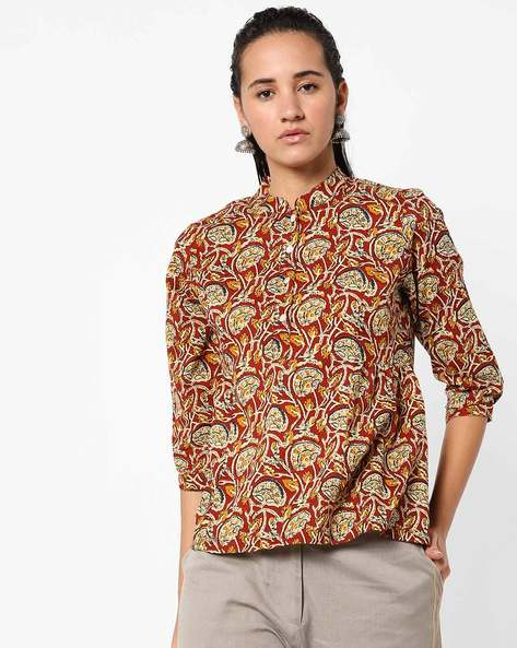 Printed Top With Mandarin Collar By Anjani ( Red )