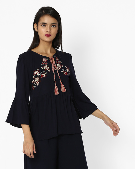 Embroidered Top With Bell Sleeves By Project Eve WW Casual ( Navy )