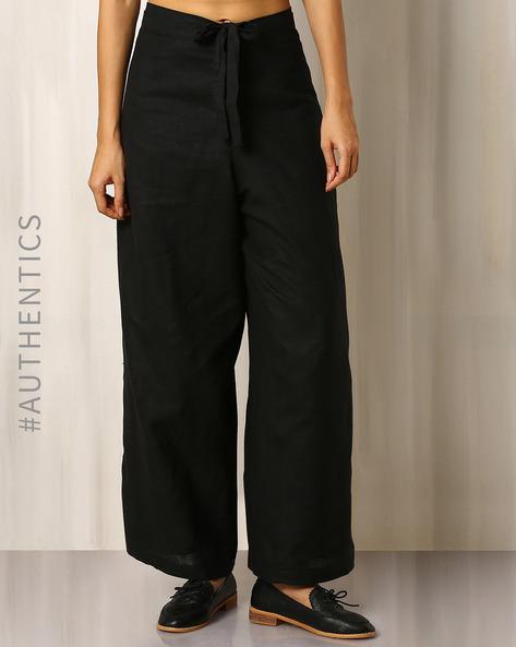 Handwoven Khadi Wrap-Around Palazzo Pants By DRAP ( Black )