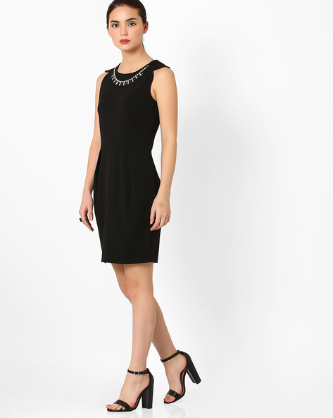 Sheath Dress With Embellished Neckpiece By AJIO ( Black )