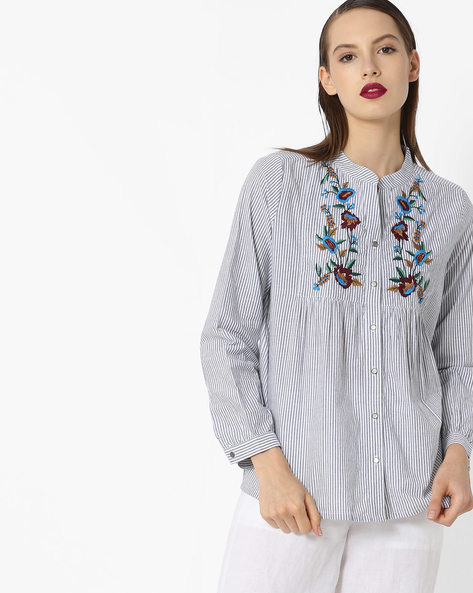 Striped Shirt Top With Floral Embroidery By Project Eve WW Casual ( Blue )