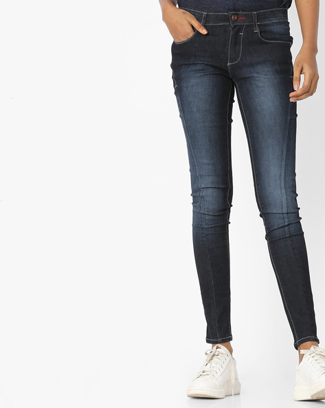 Lightly Washed Skinny Fit Jeans By WRANGLER ( Brown )