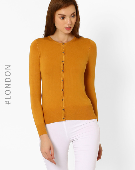 Buttoned-down Cardigan With Ribbed Hems By Marks & Spencer ( Mustard )
