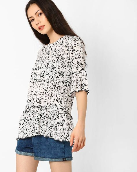 Floral Print Flared Top By AJIO ( White )
