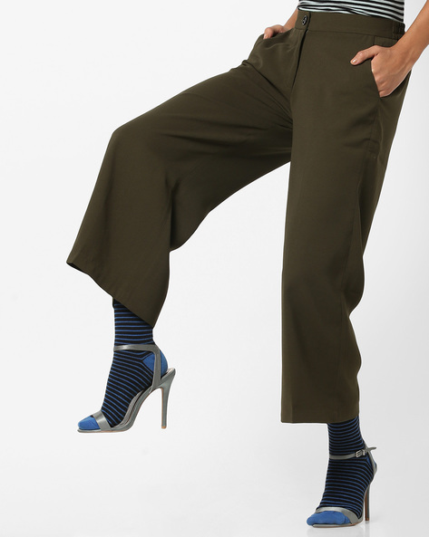 High-Rise Culottes With Slant Pockets By CODE By Lifestyle ( Olive )