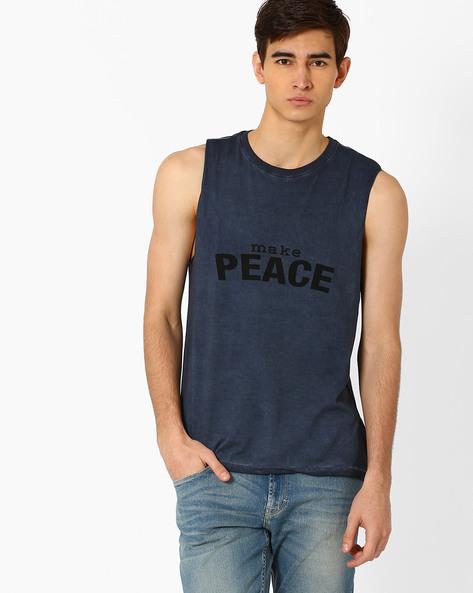 Graphic Print Sleeveless T-shirt By AJIO ( Navy )
