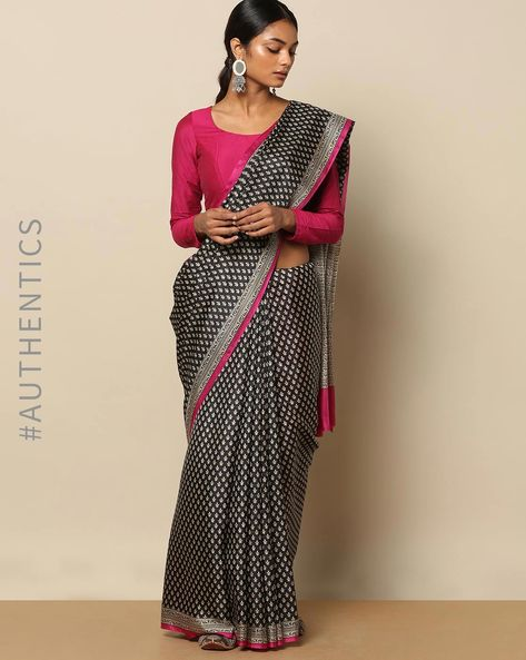 Soft Pure Silk Monochrome Print Saree By Rudrakaashe-MSU ( Black )