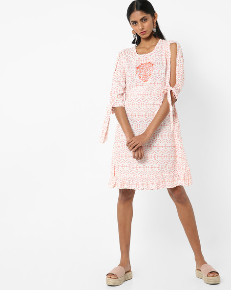Geometric Print Shift Dress By AJIO ( Peach )