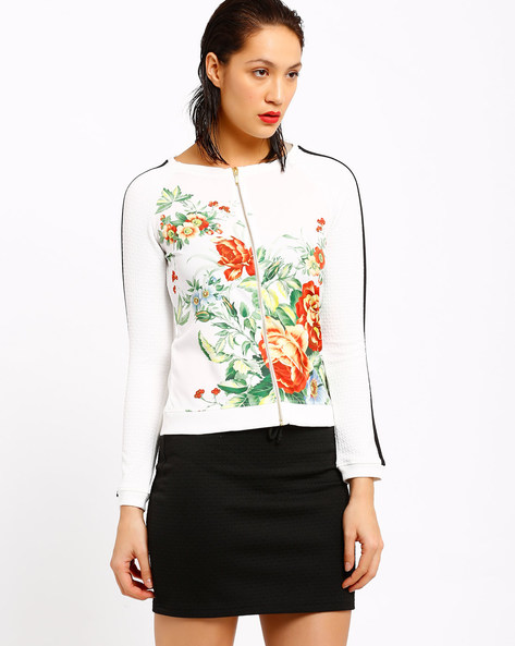Floral Print Jacket With Zipper By AJIO ( White )