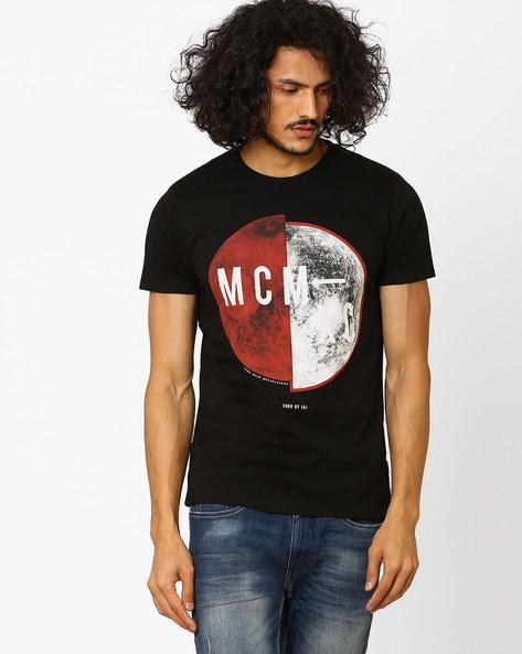 Printed Slim Fit T-shirt By Jack & Jones ( Black )