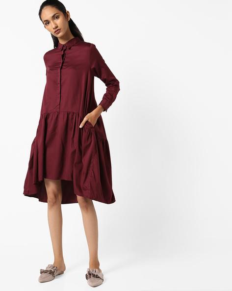 Drop-Waist Shirt Dress By Evah London ( Maroon )