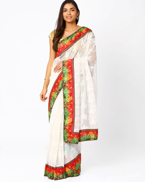 Soft Net Saree By Vishal Prints ( White )