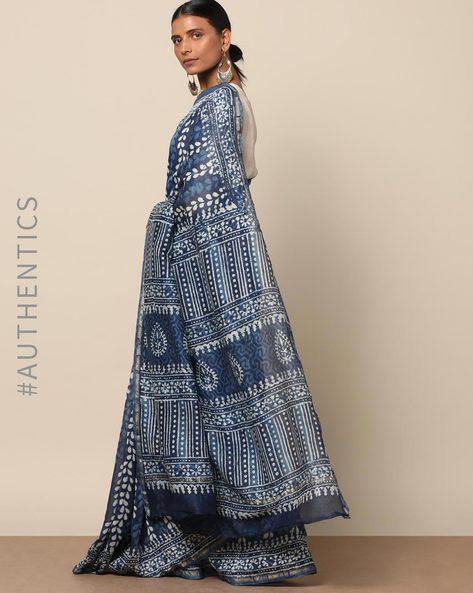 Handblock Indigo Print Chanderi Saree With Zari By Indie Picks ( Indigo ) - 460146815001