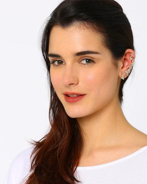 Stone-Studded Ear Cuff Set By AJIO ( Gold )