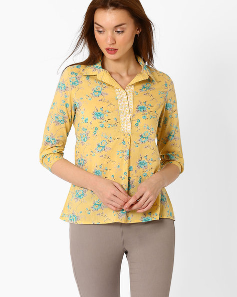 Floral Print Kurti With Shirt Collar By AJIO ( Yellow )